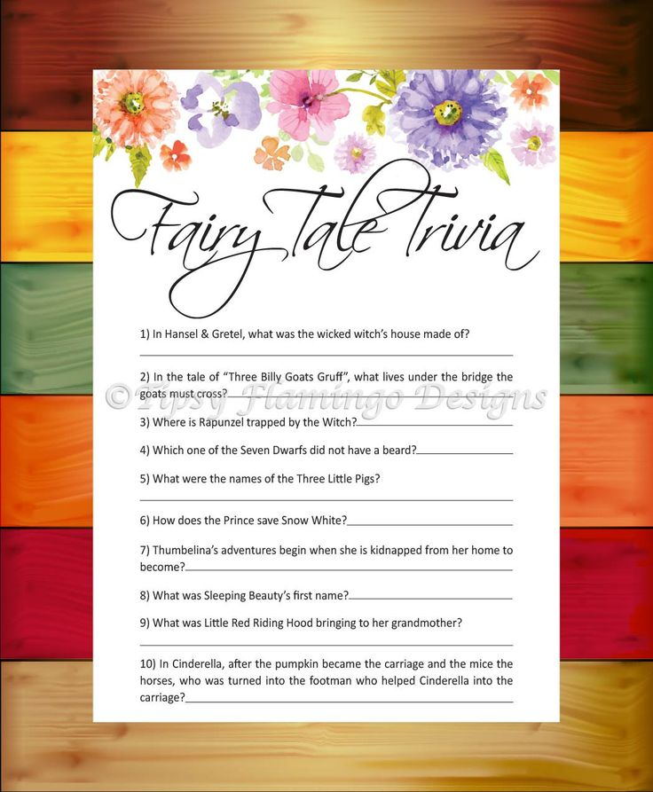 Baby Shower Game, Fairy Tale Trivia, Shower Game, Flowers, Floral, Shabby Chic Baby Shower Game, Printable, Instant Download - TFD684 by TipsyFlamingoDesigns on Etsy