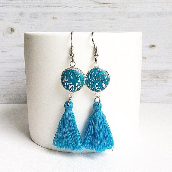 Tassel earrings teal tassel earrings tassel drop earrings