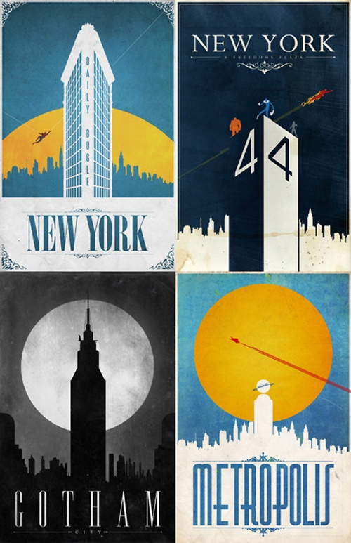 Travel Posters of fictional Comic Book places
