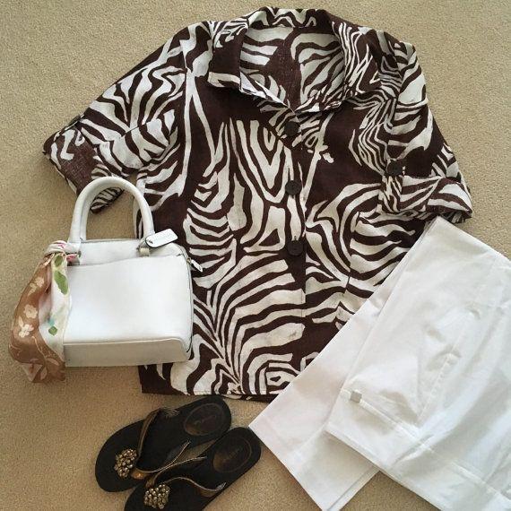 "Impresión africana tropical de superior del blusa de lino marrón flojo Coloque sin forro rollo hasta mangas verano moda suave 100% lino 14 pecho tamaño 42"""
