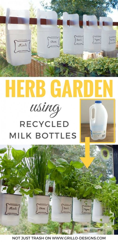 save it to pinterest: diy indoor herb garden using recycled milk bottles