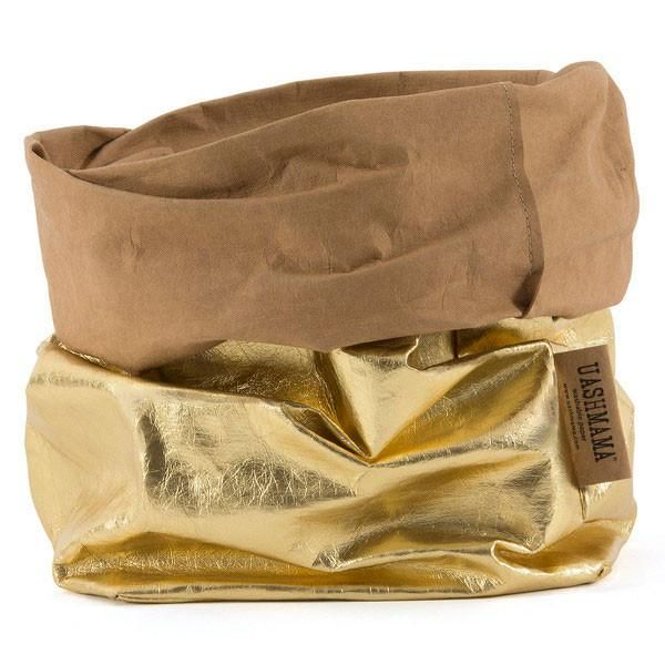 Uashmama Paper Bag Gigante - Gold: Perfect for laundry or toys or a storing soft furnishings.