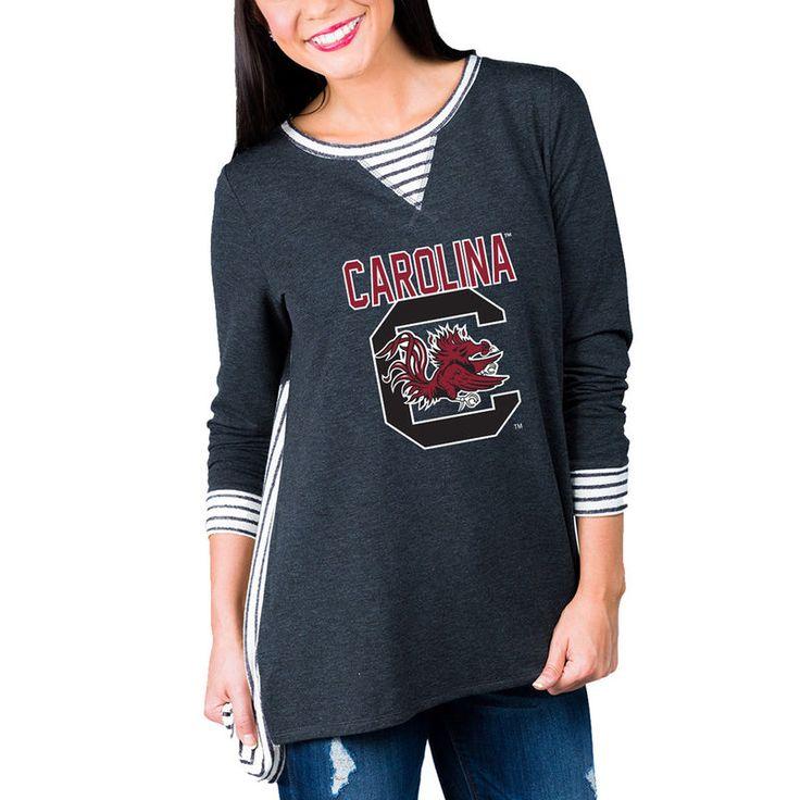 South Carolina Gamecocks Women's Striped Panel Oversized Long Sleeve Tri-Blend Tunic Shirt - Charcoal
