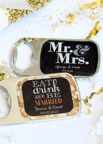 Send your guests home with personalized bottle openers! Customize with your favorite design and color choices and then personalize with your names, event date, or special message for a truly one-of-a-kind favor they'll appreciate and use for years to come. Opener is made of metal for sturdy use and topped with an epoxy dome for a smooth finish