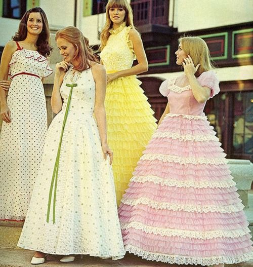 a quartet of stylishly lovely 1970s prom dresses vintage