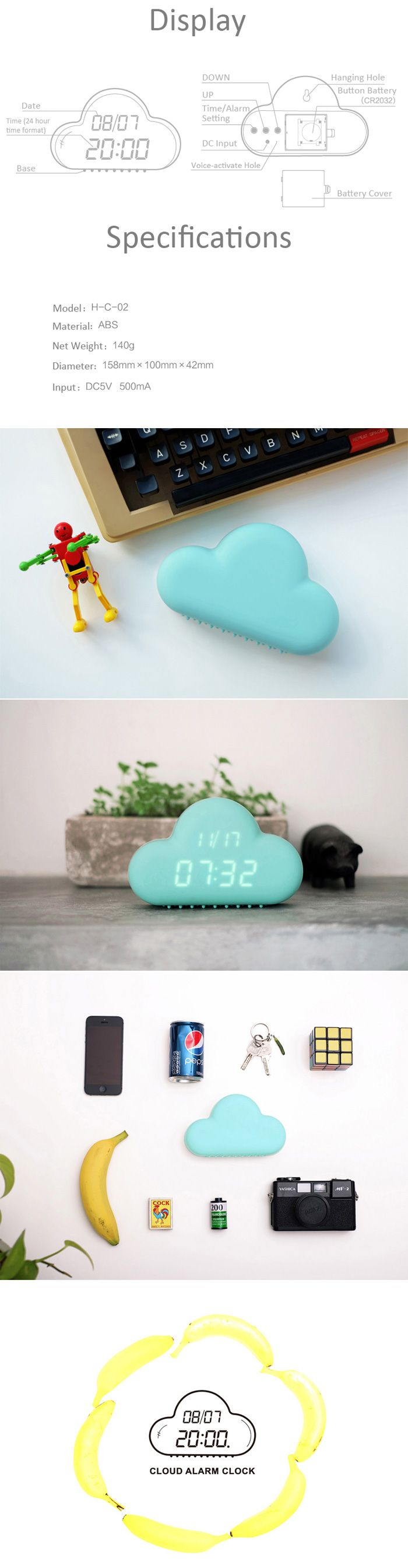 This would be cute with the nautical theme! Cloud Shaped Alarm Clock-13.38 and Free Shipping| GearBest.com