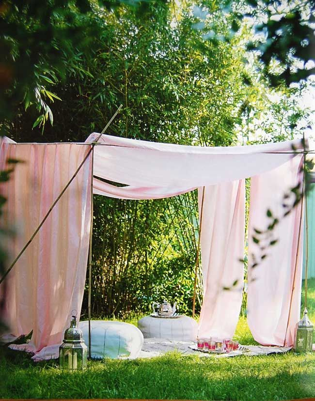 Love this idea for creating shady spots at a birthday party. Little girls would love this!