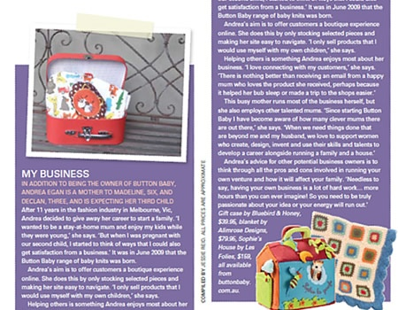 Button Baby in My Child Magazine - January 2011. Andrea tells the story behind her business success.