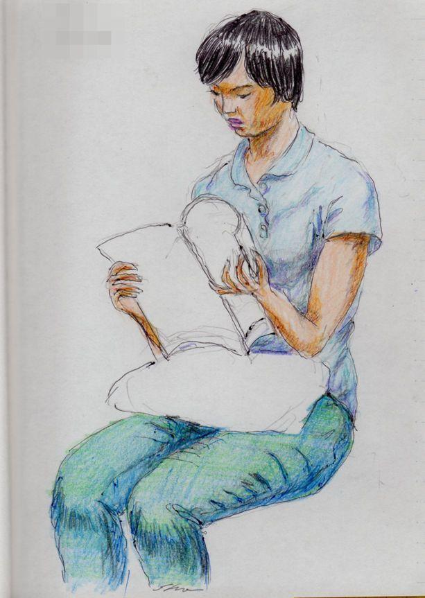 『雑誌を読む女の子(日々のスケッチ)』 Found on ameblo.jp  『雑誌を読む女の
