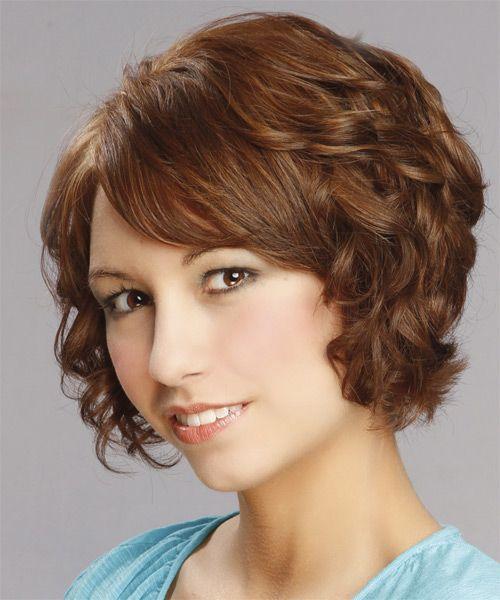 Short Curly Formal Hairstyle - Medium Brunette (Auburn) - side view 1