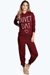 Delia Duvet Day Hooded Lounge Top and Jogger Set