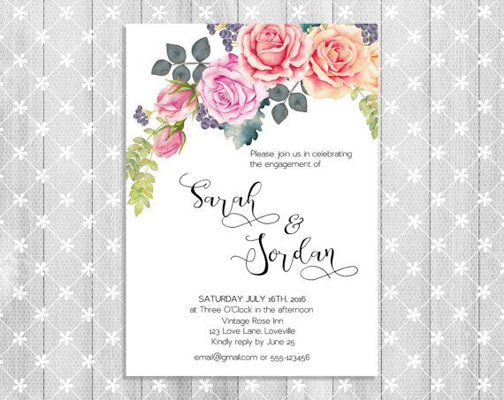 Digital Personalized Engagement invitation card by Suselis on Etsy