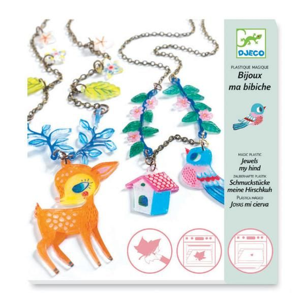 Djeco kreativ krympeplast, smykker - hjort og fugle