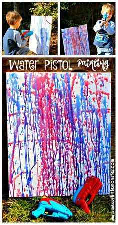 Water pistol (squirt gun) painting is a fun outdoor art activity for kids. Perfect for a Summer theme/ colour project/ working on preschoolers fine motor skills. Inspired by famous artist Jackson Polluck.