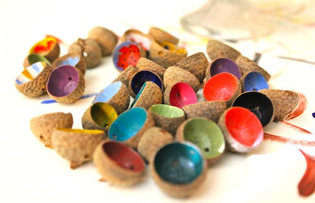DIY - Colorful acorn shells.