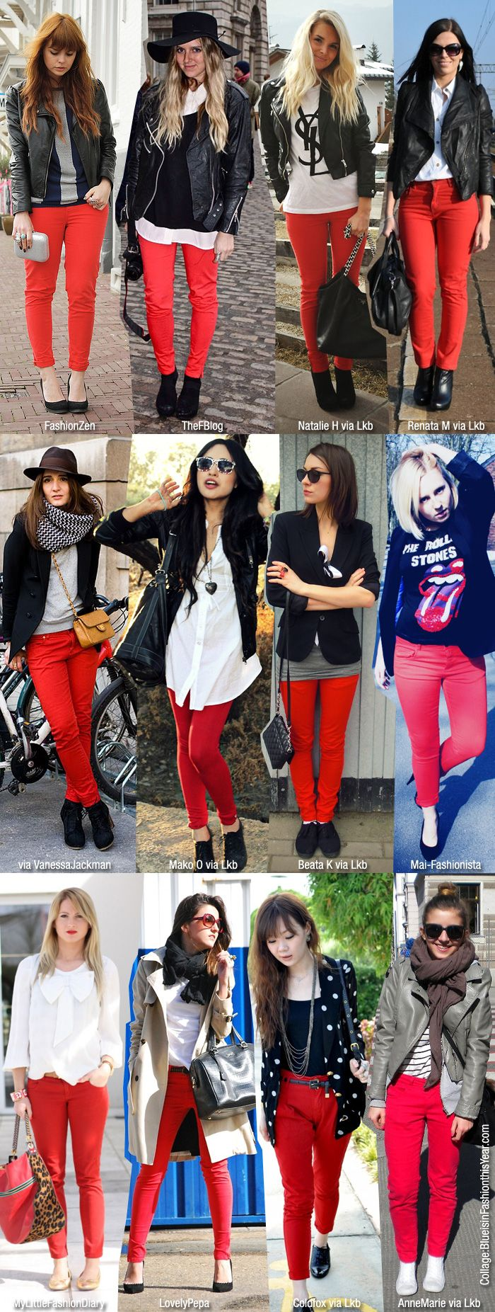 Blue is in Fashion this Year: How To Wear: Red Skinny Jeans
