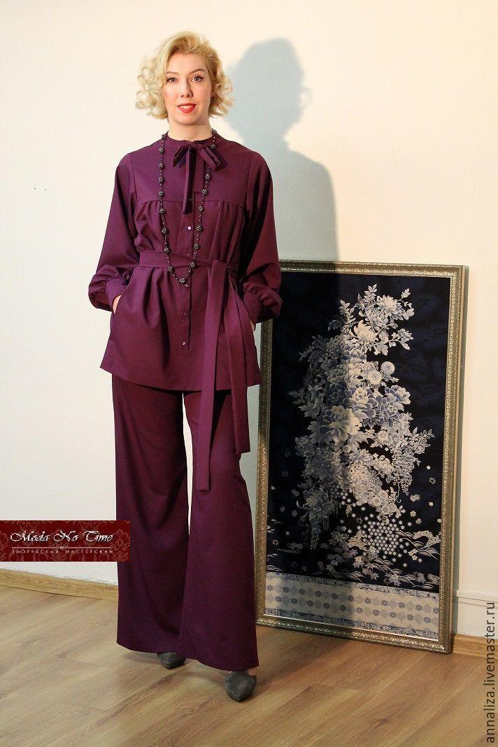 """Купить Женский костюм с стиле 70-х """"Лиловый шарм"""" - тёмно-фиолетовый, лиловый"""