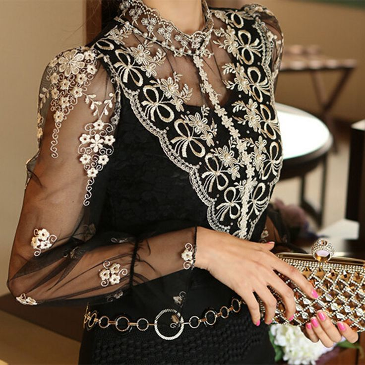 Vintage Turtleneck Black Lace Long Sleeved Top Woman Chiffon Perspective Sleeve Butterfly Pearl Blouse Blusa Renda Feminina 2016