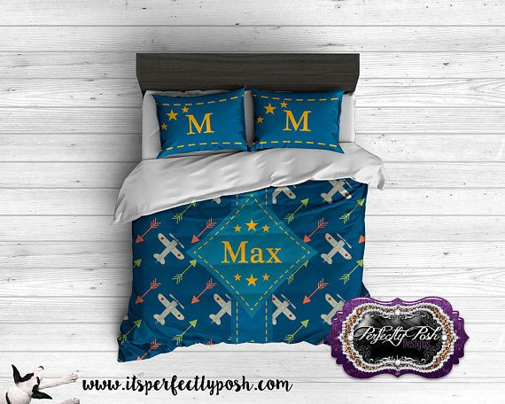 Custom Design and Personalized Vintage Airplane Theme Bedding