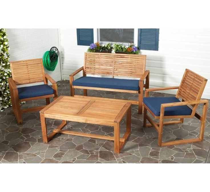4 Piece Patio Furniture Dining Table Set Brown Outdoor Furniture Navy Cushions