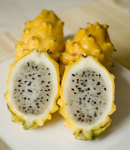 Yellow dragon fruit...I've seen these at the market. Didn't know there was a yellow dragon fruit...must try...