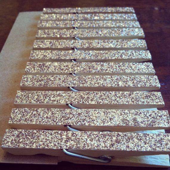 1 Dozen Gold Glitter Clothespins  by ApplesModernArt on Etsy, $6.00