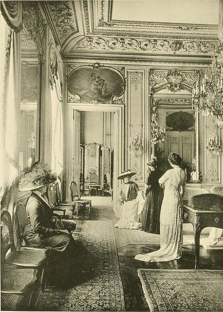 Amazing interior view:  Very BELLE EPOQUE!  Les Createurs de La Mode 1910 - 7 - Salon de Vente - Cheruit by CharmaineZoe, via Flickr
