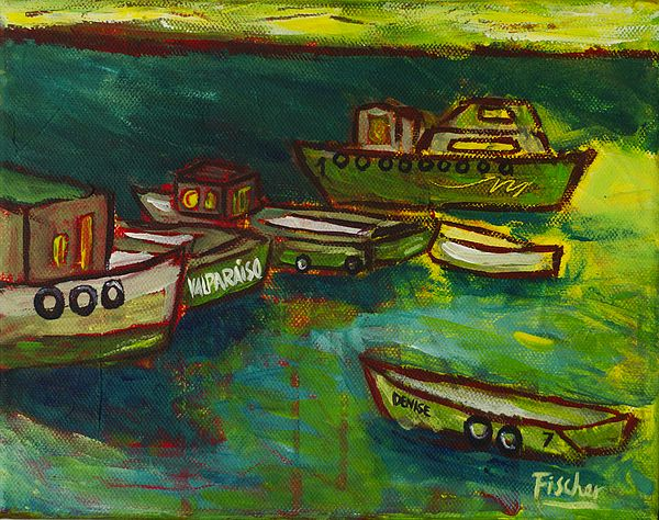 'Boats in Valparaiso', acrylic on canvas, 40x30cm #art #painting #artist #acrylic #valparaiso #colorful #canvas #fischerart