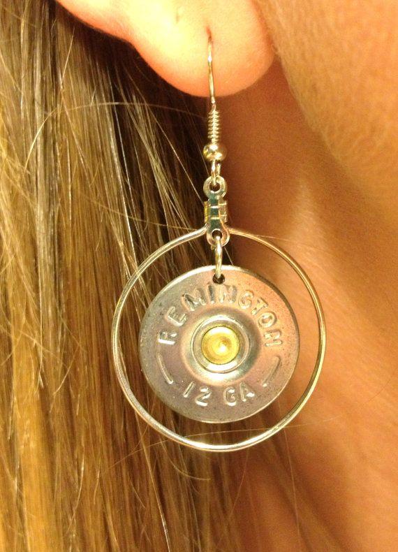 Dangling Bullet Casing Earrings 12 gauge by SouthernShots on Etsy, $24.00
