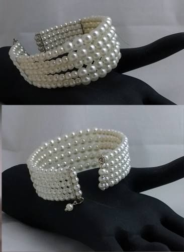 pearls on memory wire cuff