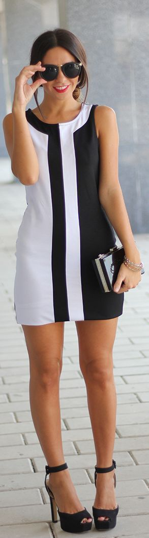 Black and white short summer dress for wedding guest.