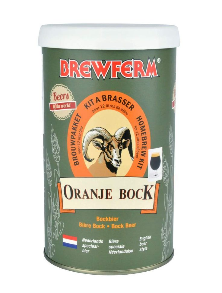 Brewferm Oranje Bock bira kiti diğer bock birası örneklerine göre daha yüksek alkollü, aroma ve tat açısından da hayli zengin biralar üretir. Başlangıç yoğunluğu (OG) 1054 olan bu bira kitiyle mayalama sonrası % 6 alkol oranlı 12 litre bira yapabilirsiniz. #beer #brewferm #bira #OranjeBock
