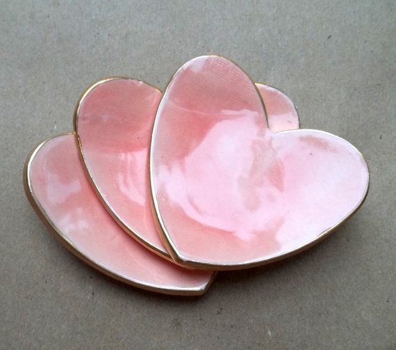 Three Ceramic Pink Heart-shaped Ring Dishes with Gold Rims ....