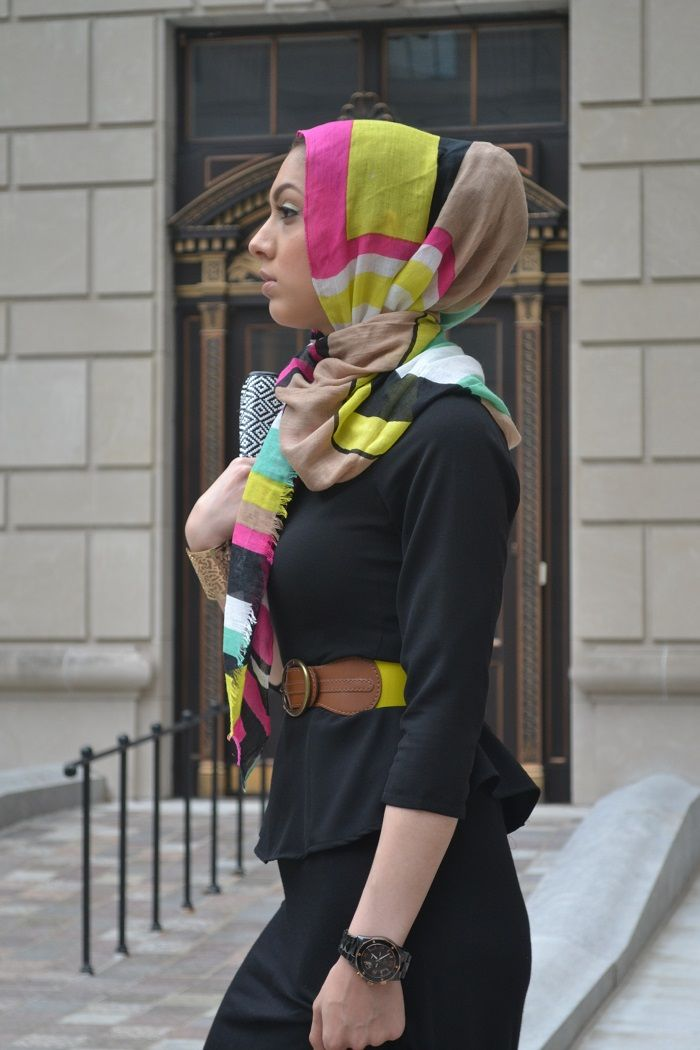hijab fashion, bright colored scarf/headwrap and waist band on black. Cute combo