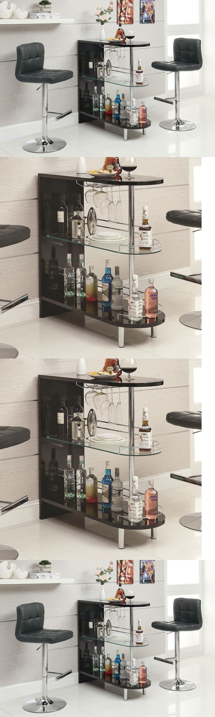 Home Pubs and Bars 115713: Pub Table Set Modern Bar Unit Shelf Wine Glass Mini Furniture Liquor Cabinet -> BUY IT NOW ONLY: $174.96 on eBay!