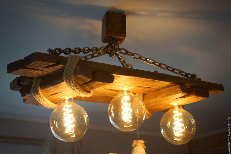 Купить Деревянная люстра из состаренного дерева - коричневый, состаренное дерево, цепь, джутовый шпагат, дача
