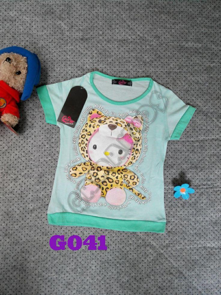 Tshirt Hello Kitty girl (G041) Hijau    Size 3-6 tahun    IDR 39.000