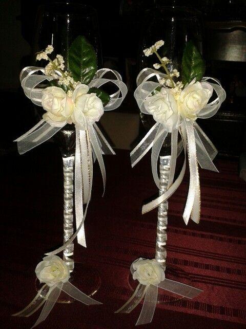 Copas decoradas para boda copas pinterest - Copas decoradas con velas ...
