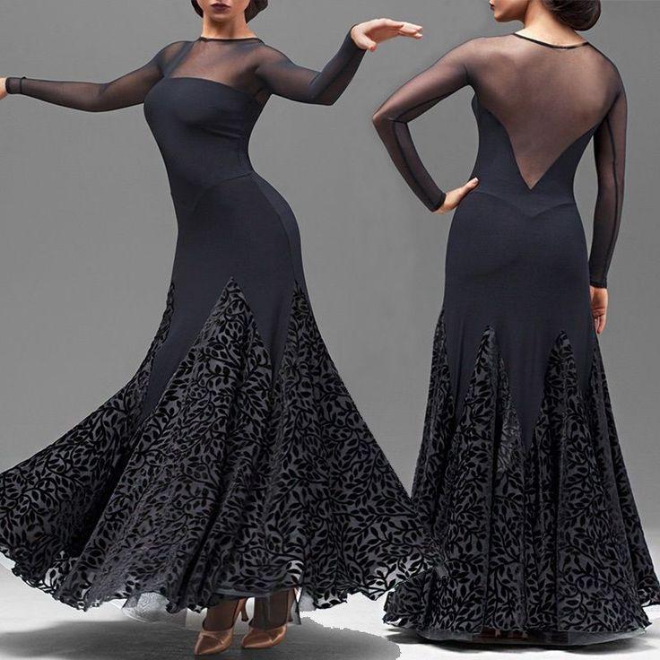 Sexy Black Maxi Adult Modern Dance Dress Foxtrot Tango Waltz Quickstep Ballroom  | eBay