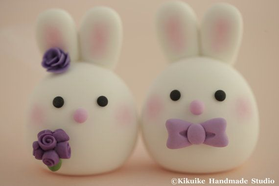 Bunny and Rabbit  wedding cake topper by MochiEgg on Etsy, $65.00