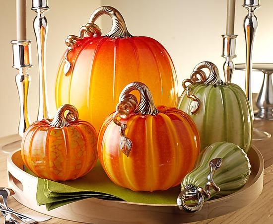 Glass pumpkins! ~ Art glass sculptures by Michael Cohn and Molly Stone