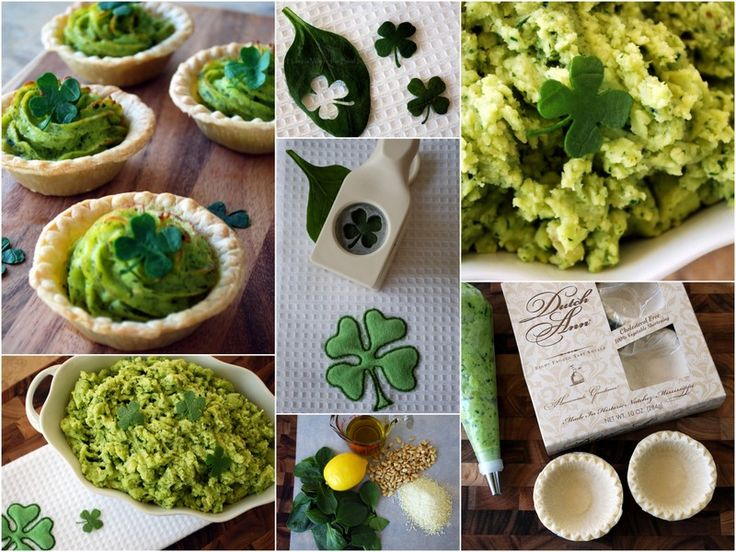 I'm not Irish but I'm happy to celebrate St. Patrick's Day with The Wearing of the Green. . .on potatoes. . . . . .with Spinach Pesto~ and a little fun with Spinach 4-Leaf Clovers…