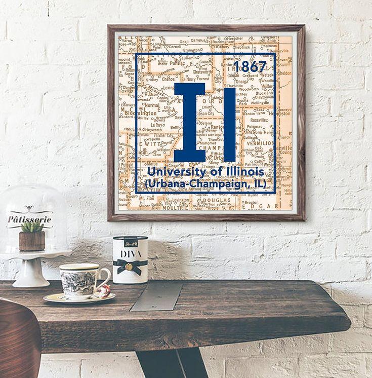 Fighting Illini University Of Illinois Urbana Champaign Periodic Map ART PRINT