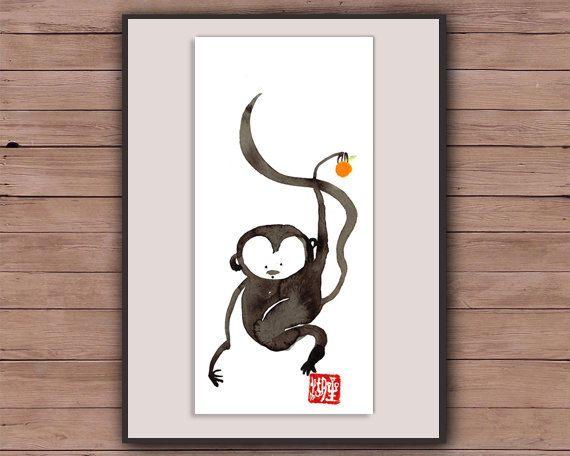 Monkey! Zen Chinese New Year of the Monkey, Original Sumi ink Painting, zen decor, zen japanese illustration, japanese asian art, taoist art by ZenBrush