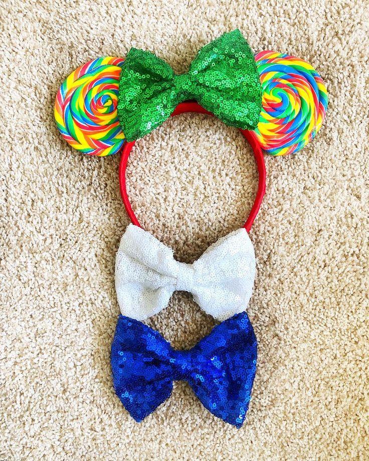 DIY Lollipop Ears for Disney. Mickey Minnie Ears Main Street Candy Rainbow Lollipop
