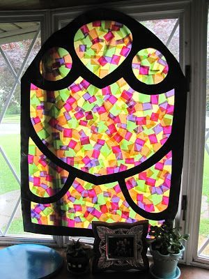 Cool idea for windows in a castle or fairy tale themed classroom. This might look good down a long hallway too.