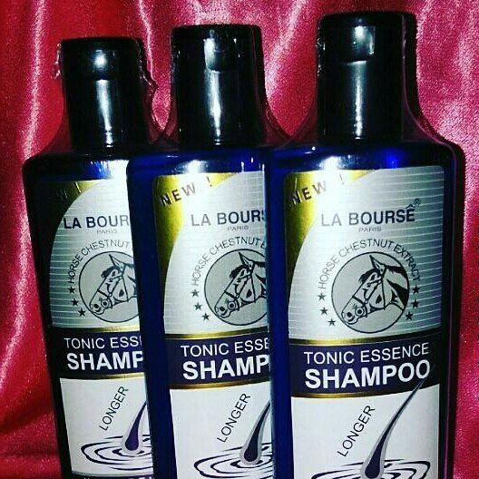 -  La Bourse Essential Tonic Shampoo - 300ml Rumusan eksklusif yang mengandungi bahan-bahan terbaik, terutamanya ekstrak ginseng semulajadi, vitamin dan D-Panthenol. Ia membersihkan dan keadaan rambut, akar rambut dan kulit kepala manakala membesarkan saluran darah kapilari dan mengaktifkan papila rambut untuk merangsang pertumbuhan rambut dan melindungi rambut gugur. Mengurangkan kelemumur dan gatal kulit kepala.  Shampoo yg tersangat laris masa ini...memang sangat berkesan dan dijamin puas…