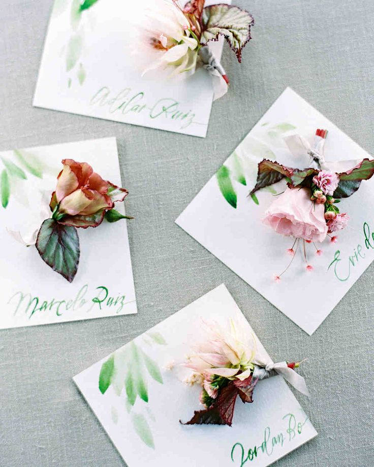 A Peach-and-Pink Garden-Themed Wedding in Brazil | Martha Stewart Weddings - The boutonnieres, also made by Bows + Arrows, were equally beautiful and incorporated a mix of blooms and leaves.