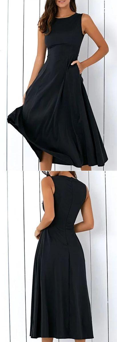 Schwarz A-Linie Frauen ärmellose Taschen Solide Sommerkleid
