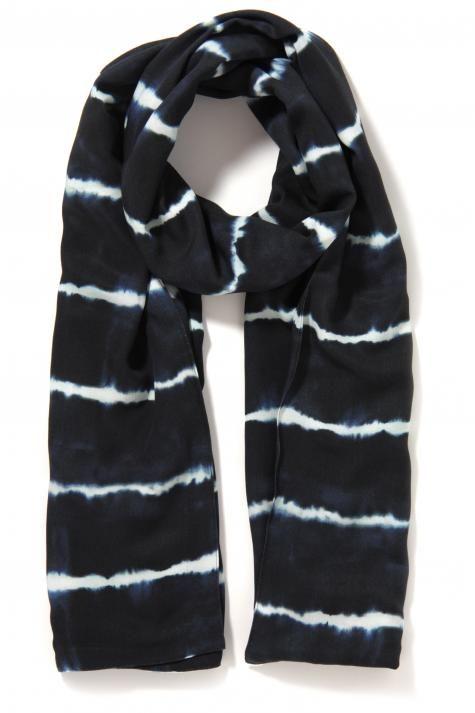Vergroot - Donkerblauwe viscose sjaal met flou witte print